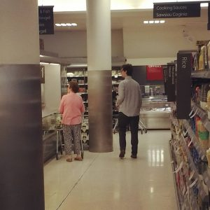 Marcel got stopped in Waitrose at least five times by people asking him where things were. In the end he started pretending he really did work there. Here he is helping a lady discover that there really are no brains faggots.