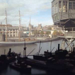 At the industrial museum in Bristol. The boats in the foreground are tiny models  in a window
