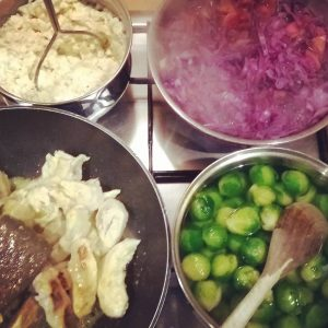 Cooking chicken with celeriac mash, red cabbage and apple, sprouts and a home made chicken gravy. Just thought you might like to know.